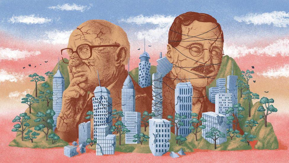 Görsel: Ralph Zabel / The Correspondent - Neoliberalizmin ideologları Hayek ve Friedman.