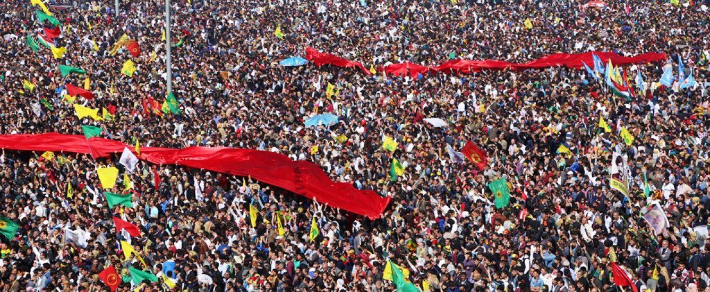 Diyarbakır'daki Newroz şenliğinden bir görüntü.