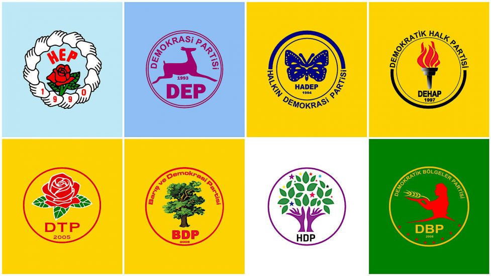 1990'lı yıllardan günümüze, Kürt hareketinin legal parti amblemleri.
